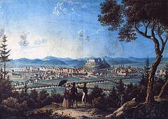 View from under Rožnik hill towards Ljubljana 1820.jpg