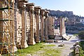 View of the remains of the Library of Hadrian from the entrance to the Tzistarakis Mosque.jpg