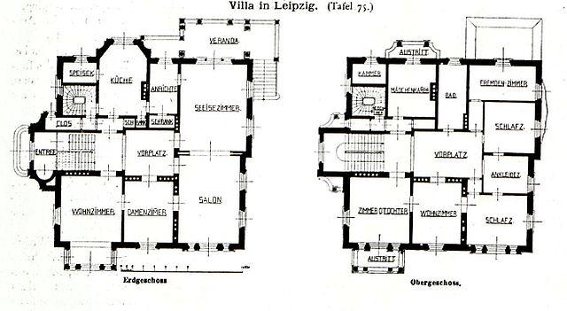 Moderne architektur villa grundriss  Datei:Villa, Ecke Karl-Tauchnitz- und Robert-Schumannstrasse ...