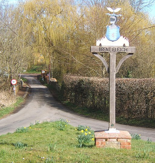 Village sign and lane heading north at Brent Eleigh - geograph.org.uk - 724601