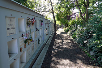 Strašnice Crematorium - A columbarium at the crematorium