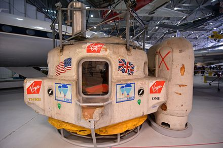 The capsule from the Virgin Atlantic Flyer balloon on display at the Imperial War Museum, Duxford, England