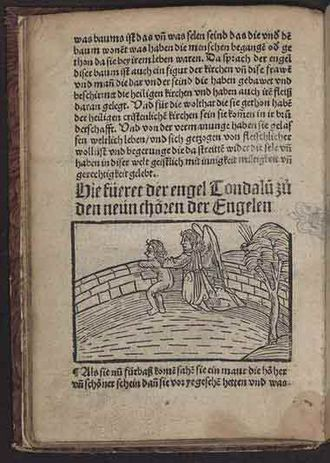 Visio Tnugdali - Tundale looks over the wall of Heaven, woodcut illustration from an edition in German printed by Matthias Hupfuff in Strasbourg, 1514