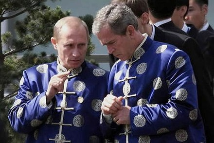 President Bush with Russian president Vladimir Putin in Shanghai, October 21, 2001. Russia had cooperated with U.S. in the War on Terror. Vladimir Putin at APEC Summit in China 19-21 October 2001-13.jpg
