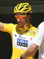 fabian cancellara pictured at the tour de france he is the rider who has worn the yellow jersey as leader of the general for the most