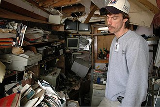 WQRZ-LP - Brice Phillips of WQRZ-LP in his home studio in the wake of Hurricane Katrina, February 2006 (FEMA photograph).