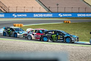 2016 World RX of Hockenheim - Andreas Bakkerud leads Kevin Eriksson and Ken Block