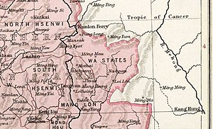 Wa people - The Wa States in an early 20th century The Imperial Gazetteer of India map.