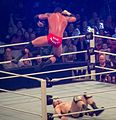 Wade Barrett diving elbow drop Sheamus.jpg