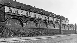 Francke Foundations - Orphanage wall in 1972 before demolition