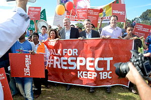 Tony Burke - Tony Burke in the Walk For Respect against the amendment of section 18C Racial Discrimination Act in association with Bangladesh Friends of Labor at Lakemba, Sydney, Australia.