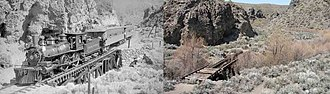 Washoe Valley (Nevada) - Virginia and Truckee Railroad in Washoe Canyon, then and now