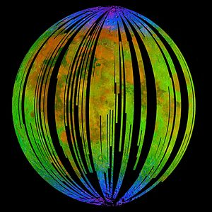 Moon Mineralogy Mapper - Mosaic of images of the Moon taken by the Moon Mineralogy Mapper. Blue shows the signature of water, green shows the brightness of the surface as measured by reflected infra-red radiation from the sun and red shows an iron-bearing mineral called pyroxene.