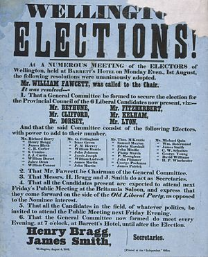 Wellington Province - Poster for the Wellington Provincial Council elections in 1853