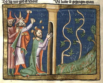 Naboth was stoned to death when he resisted King Ahab's attempt to use eminent domain against his vineyard for use as a palace vegetable garden Weltchronik Fulda Aa88 335v detail.jpg