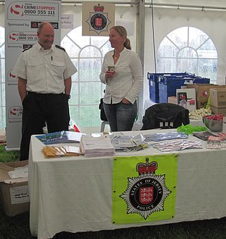 States of Jersey Police - States of Jersey Police community outreach: a crime prevention information stand at the 2012 West Show