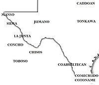 The approximate location of Indian tribes in western Texas and adjacent Mexico, ca. 1600 West Texas Indian Tribes1 -- 1600.jpg