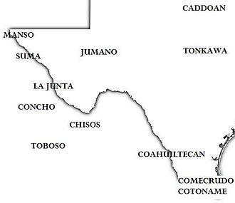 Manso Indians - The approximate location of Indian tribes in western Texas and adjacent Mexico, ca. 1600
