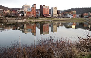 Downtown Wheeling and the Ohio River as viewed from Wheeling Island in 2006