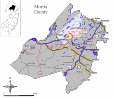 Map of White Meadow Lake CDP in Morris County. Inset: Location of Morris County in New Jersey.
