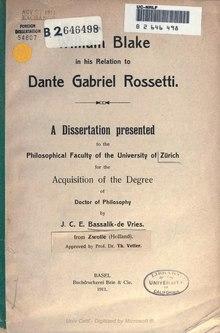 William Blake in his relation to Dante Gabriel Rossetti (1911).djvu