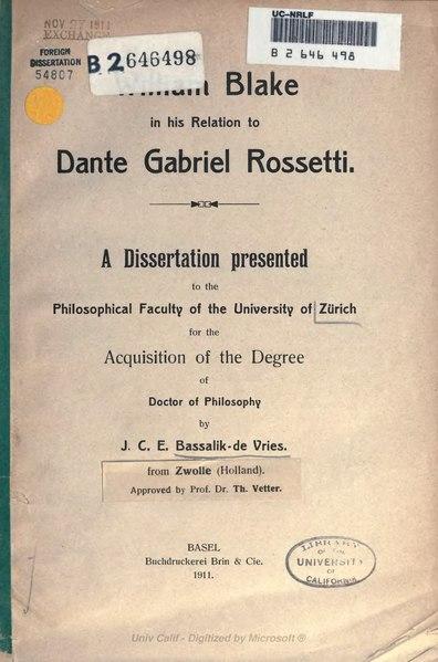 File:William Blake in his relation to Dante Gabriel Rossetti (1911).djvu