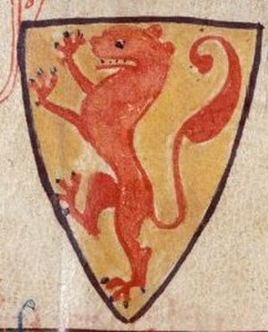 William II of Holland - Coat of Arms of William II. in a medieval manuscript.