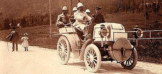 Entrepreneurship -  Emil Jellinek-Mercedes (1853–1918), at the steering wheel of his Phoenix Double-Phaeton, was a European entrepreneur who helped design the first modern car.
