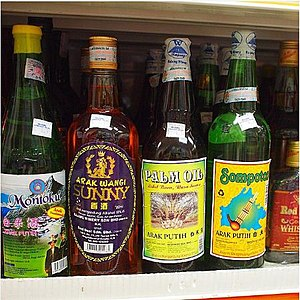 Alcohol in Malaysia - Local white wine brands in a market in Sabah. Most of Malaysia's alcohol production centres are located in East Malaysia as the non-Muslims population are mostly concentrated there.