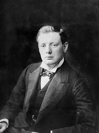 Churchill in the Lower House of the Houses of Parliament in 1900. Winston Churchill 1874 - 1965 Q113382.jpg