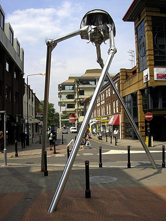 Statue of a Martian tripod from The War of the Worlds in Woking, hometown of science fiction author H. G. Wells. Woking tripod.JPG