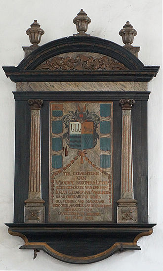 Johan van Angelbeek - Ex voto à la mémoire de Lady Iakomina Lever épouse du gouverneur Johan Gerard van Angelbeek.- Colombo