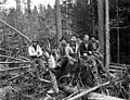 Woods crew with stump and fallen logs, Eastside Logging Company, Keasey, ca 1925 (KINSEY 2239).jpg