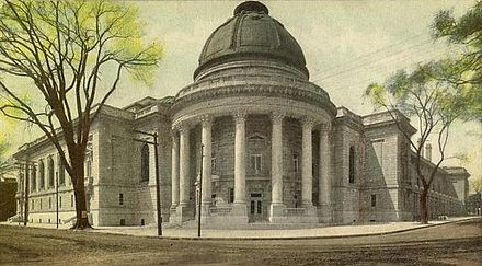 In 1861, Yale University awarded the first Doctor of Philosophy (Ph.D.) degree in the United States. Woolsey Hall, Yale University.jpg