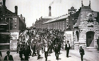 Pullman Company - Workers leave the Pullman Palace Car Works, 1893