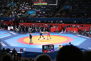 Wrestling at the 2012 Summer Olympics KAZ vs. GEO.jpg