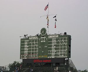 The main scoreboard after the August 11, 2005 Cubs - Cardinals game at Wrigley Field, Chicago, Illinois.