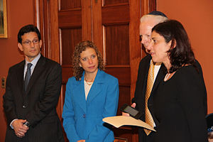 Debbie Wasserman Schultz - Former House Majority Leader Eric Cantor, left, Rep. Debbie Wasserman Schultz, second from left, listen as Sheryl and Tuly Wultz talk about the impact of prayer in the life of their son, Daniel Wultz on May 1, 2014, in the Office of the House Majority Leader, Washington, D.C.