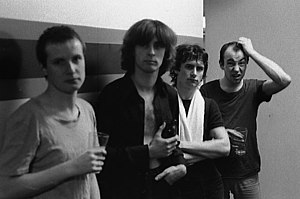 XTC backstage in Toronto, Canada (October 1978) From left: Andy Partridge, Colin Moulding, Terry Chambers, and Barry Andrews
