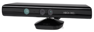 A Kinect sensor device. The Xbox 360 E revision has an additional Xbox logo to the left of the Xbox 360 branding. Xbox-360-Kinect-Standalone.png