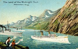 postcard depicting SMY Hohenzollern II in Norway