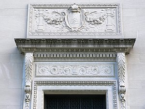 Berzelius (secret society) - Detail of entryway ornamentation. Berzelius Society symbol depicted within shield.