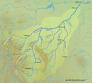 English: Map of the Yellowstone River watershe...