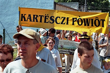 Kashubian jamboree in Łeba in 2005 – banner showing the Kashubian name of Kartuzy County