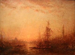 Venise, grand canal avec le campanile au coucher de soleil