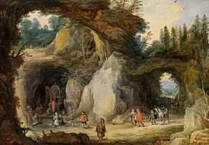 Jan Brueghel the Elder - A Hermit before a Grotto, with Joos de Momper (II)