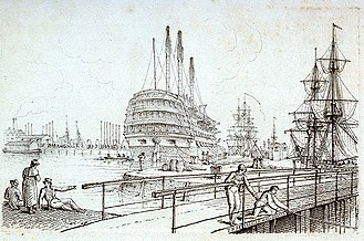 Sheerness Dockyard - HMS ''Trafalgar'', with her upper masts and spars removed, in the Great Basin at Sheerness (sketch by Henry Moses, 1824).