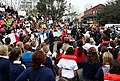 (Hurricane Katrina) New Orleans, LA January 11, 2006 - Surrounded by Sacred High Acadamy high school students and local residents, Shawn Hollanan leads a demonstration in Jackson Sq - DPLA - 54e6bc64438e67dccebe4480e0dbf3bd.jpg