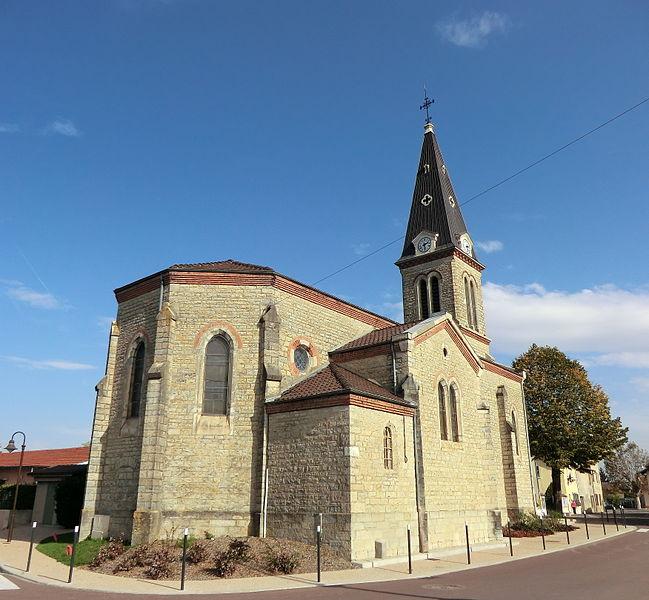 Église de Niévroz, angle sud-ouest.