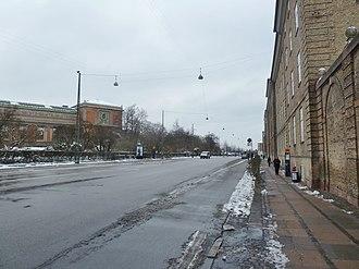 Øster Voldgade - Øster Voldgade seen from Georg Brandes Plads towards Østerport Station.